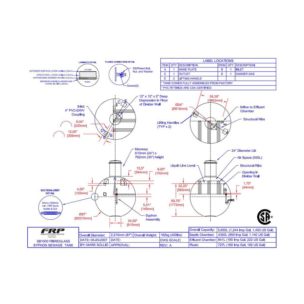 SB1000 Fibreglass Syphon Sewage Tank