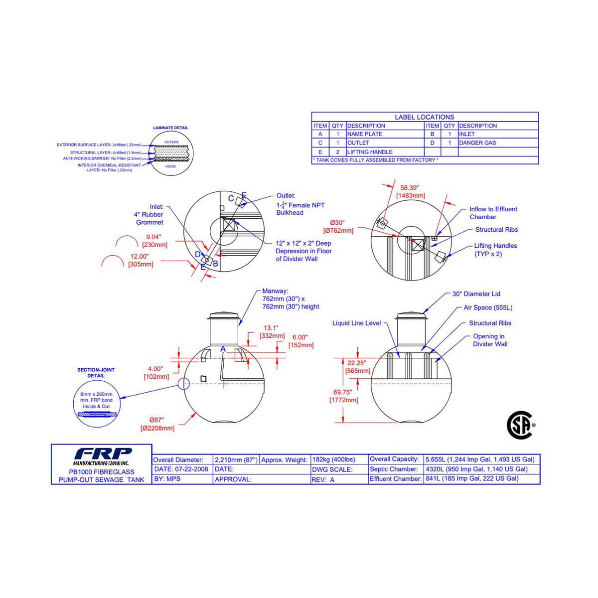Fibreglass Pump Out Sewage Tank - PB1000