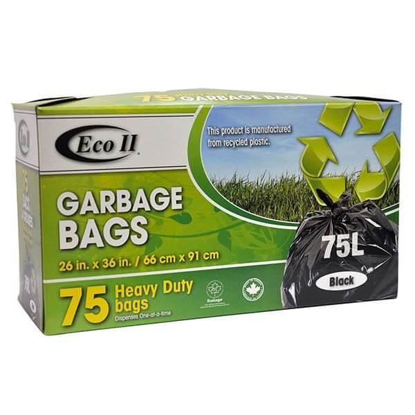 Eco II Heavy Duty Garbage Bags 75  pack