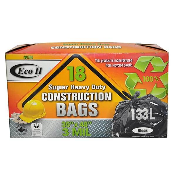 Eco II Super Heavy Duty Construction Bags 18  pack