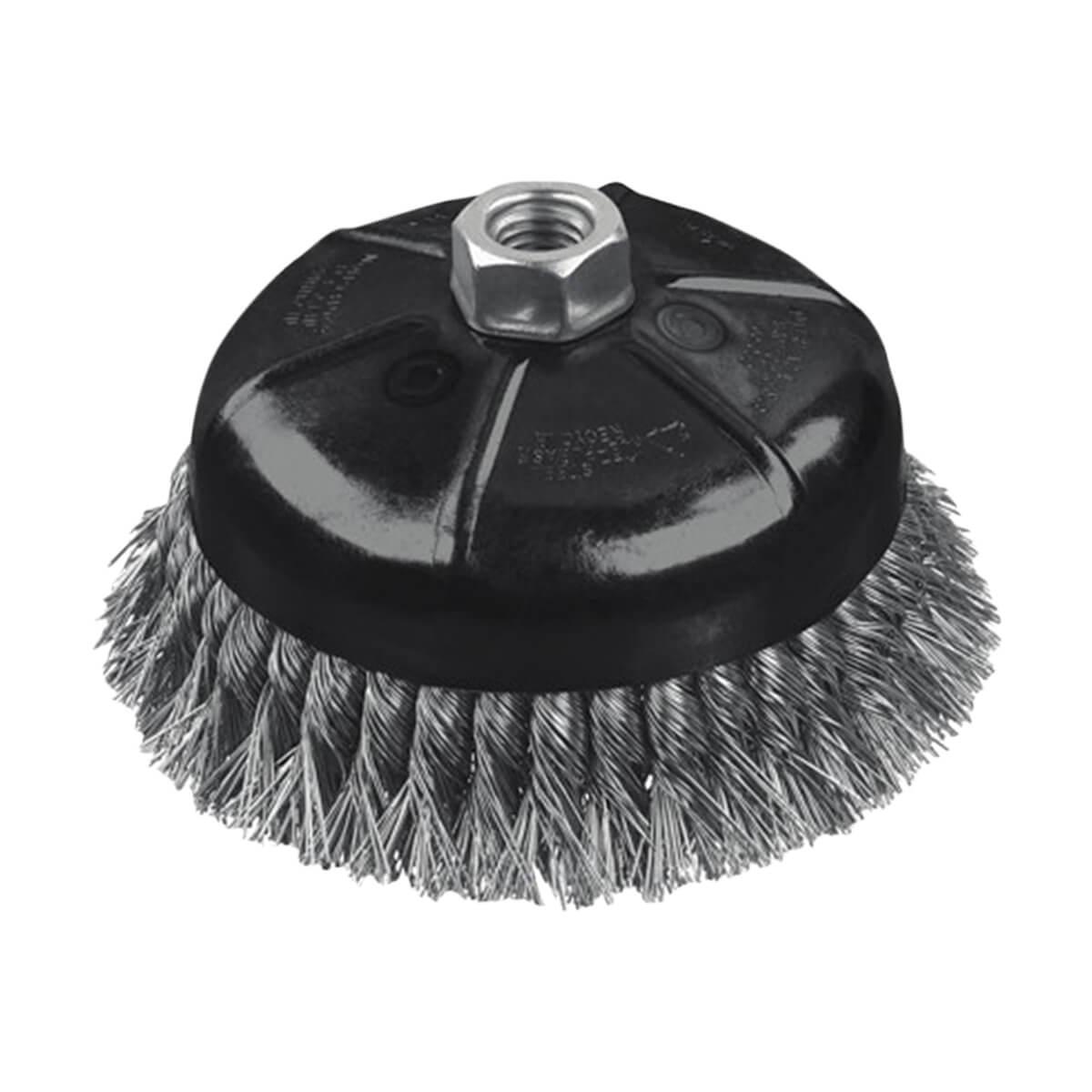 "DEWALT 4"" Knotted Cup Brush/Carbon Steel 5/8"" - 11 Arbor .020"" - DW4916"