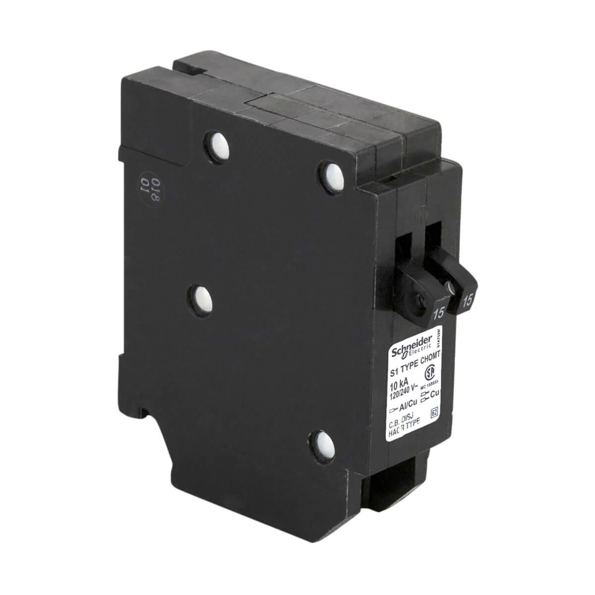 Schneider Electric Single Pole 15-15 Amp HomeLine Tandem Plug-On Circuit Breaker