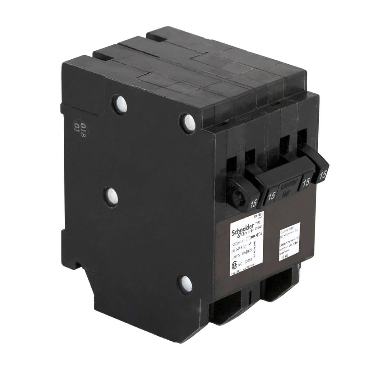 15A Single Pole x2 / Double Pole Quad Plug-On Circuit Breaker