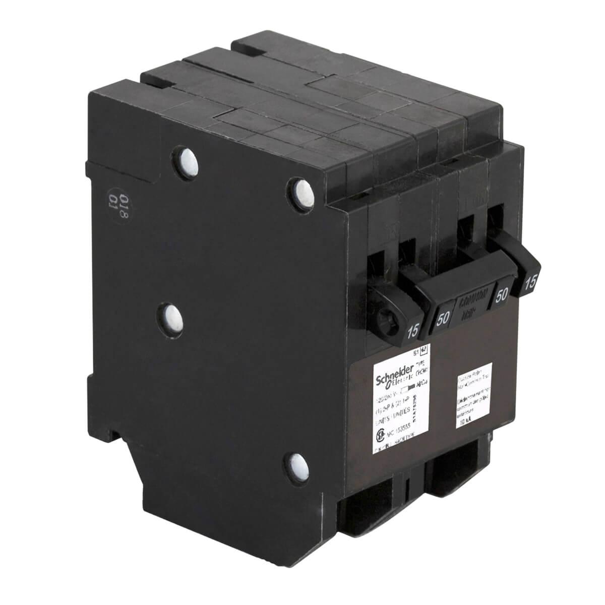 15A Single Pole x2 / 50A Double Pole Quad Plug-On Circuit Breaker