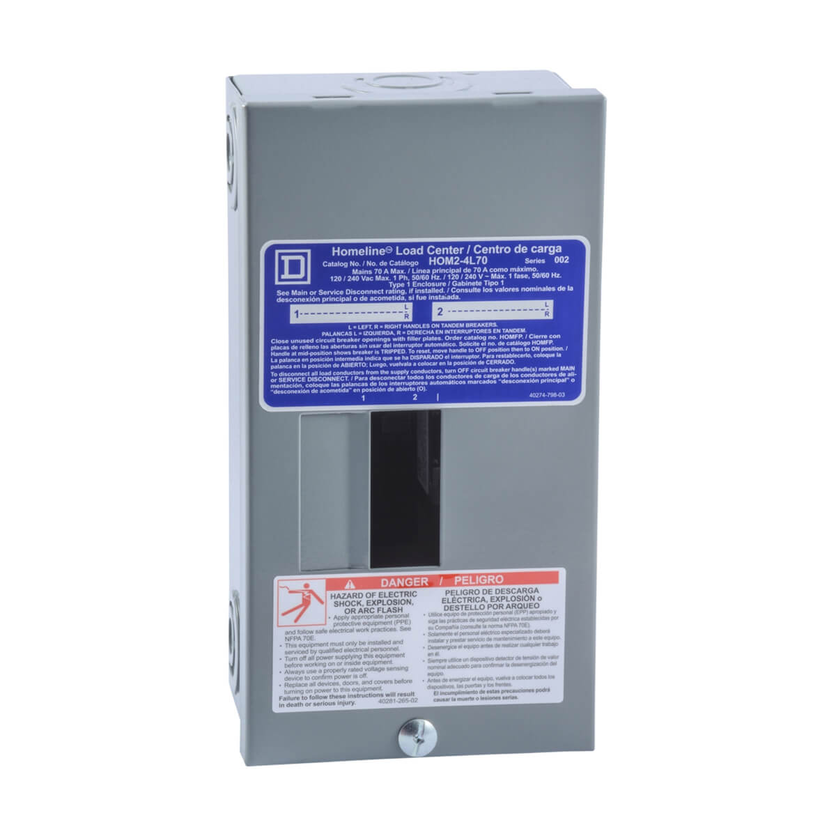 Schneider Electric Homeline Sub Panels  - 70 amp - with 2 spaces - 4 circuit max.
