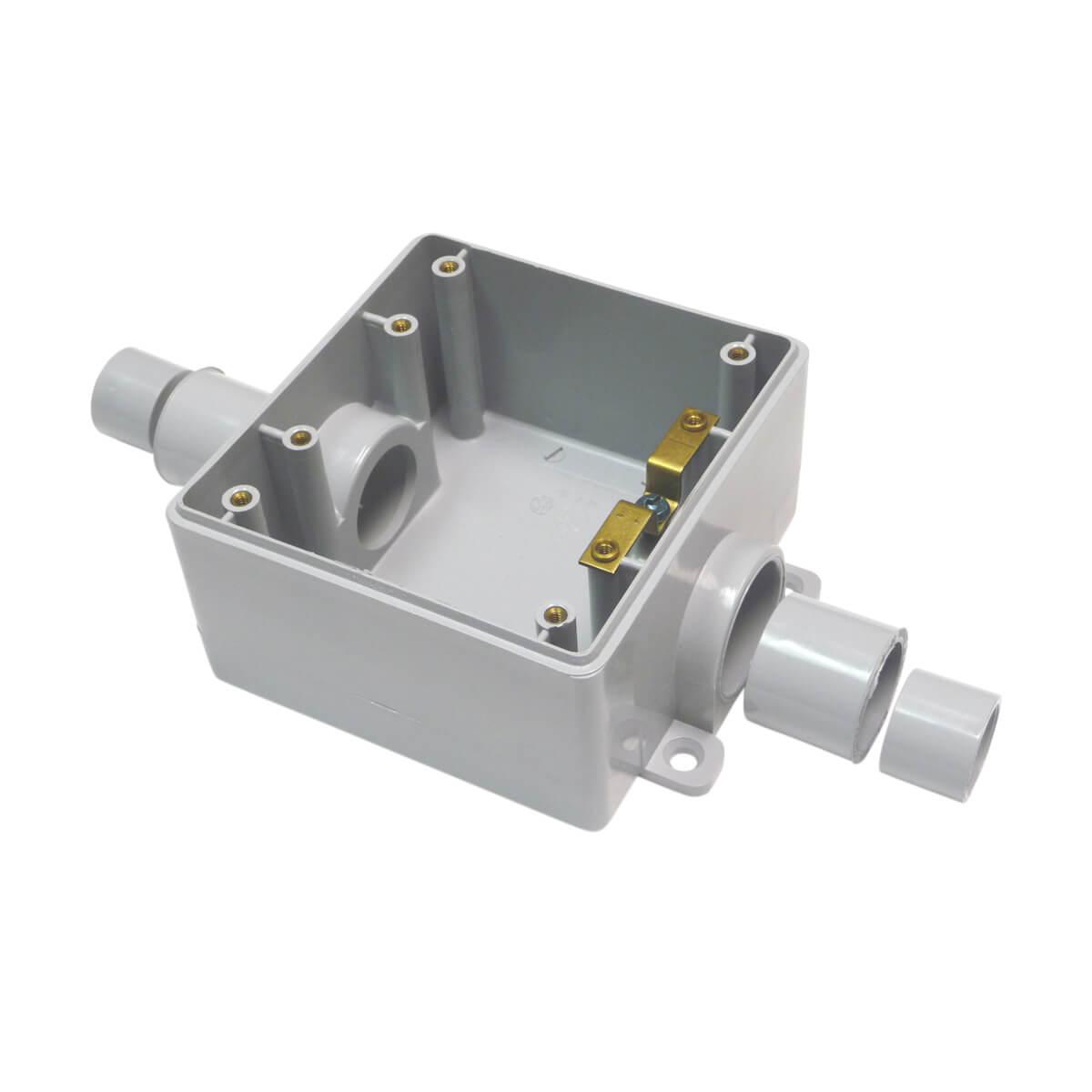 "PVC FSC 3-in-1 Double Gang Box (with reducer bushings) - Hub - 1/2"" - 3/4"" - 1"""