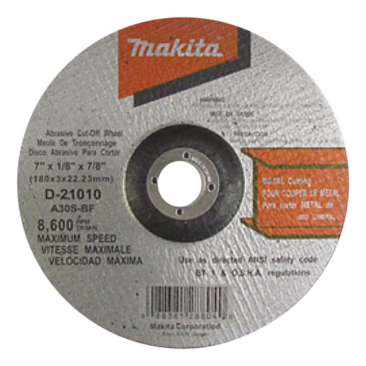 "Makita 7"" General Purpose Grinder Cut-Off Wheel - 7"" x 1/8"" x 7/8"""