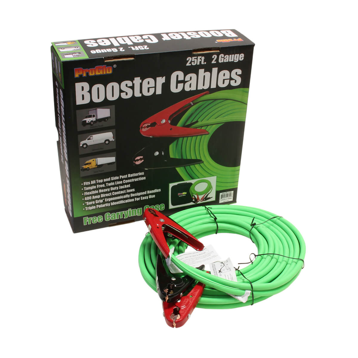 25' Pro Glo® Booster Cables, 2 Ga. w/Case