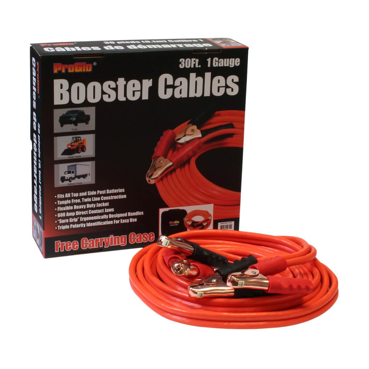 30' Pro Glo® Booster Cables, 1 Ga. w/Case