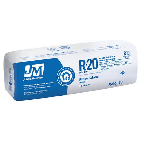 "JM R20 Fiberglass Insulation - R20 23"", covers 120.1 sq.ft."