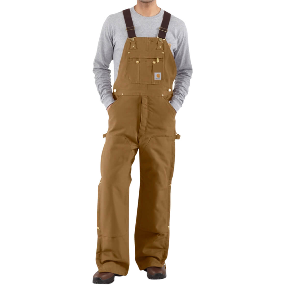 Carhartt Brown Duck Zip-to-Thigh Quilt-Lined Bib Overall