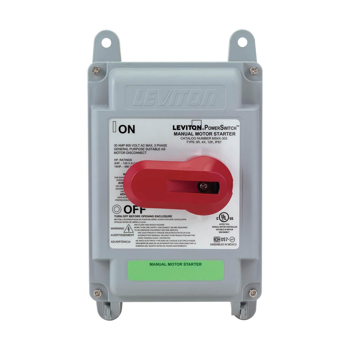 Leviton MS4X-302 30 Amp Double-Pole Motor Starter Switch in 4X Valox Enclosure - Black