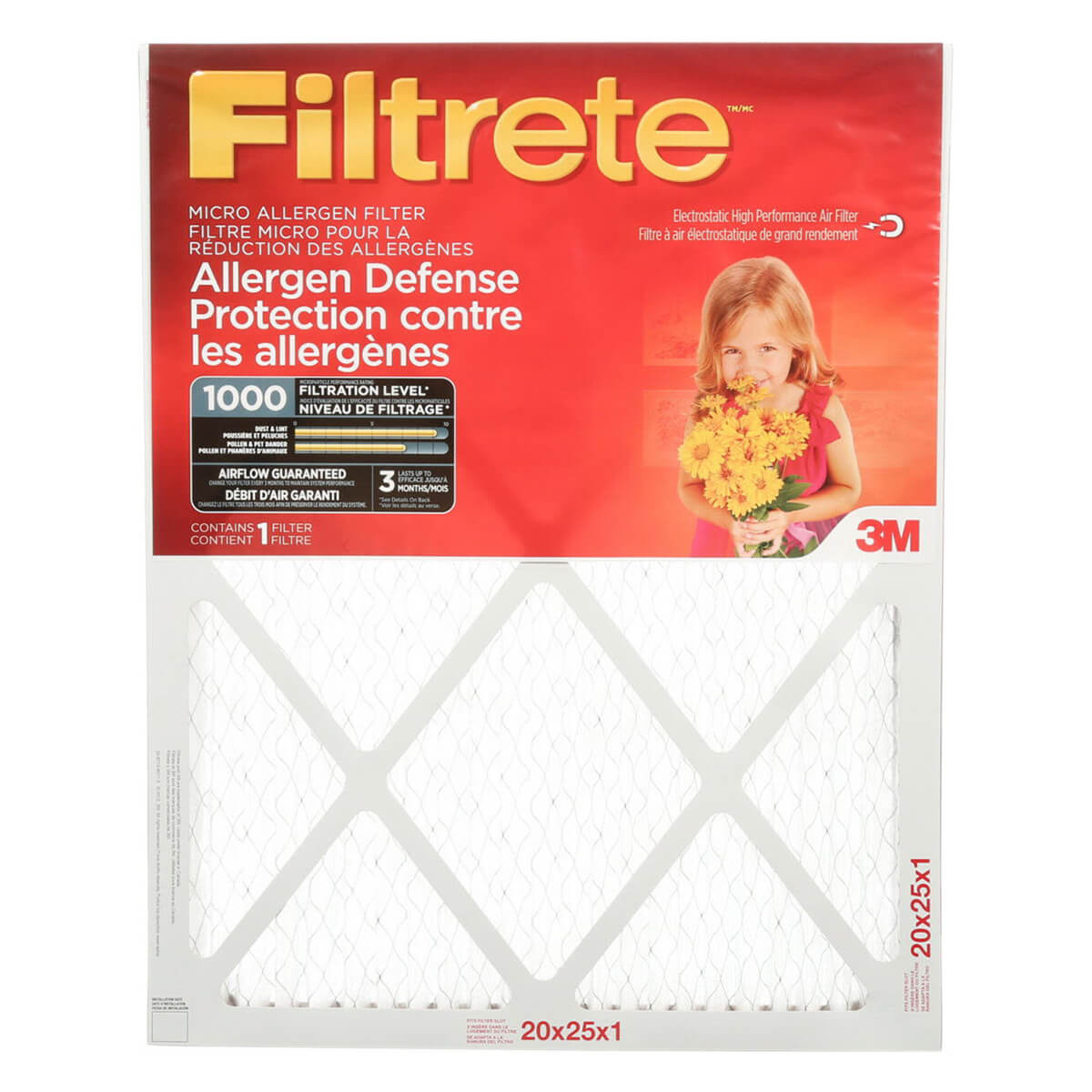 "16"" x 25"" x 1"" Filtrete™ Micro Allergen Defense Filter"
