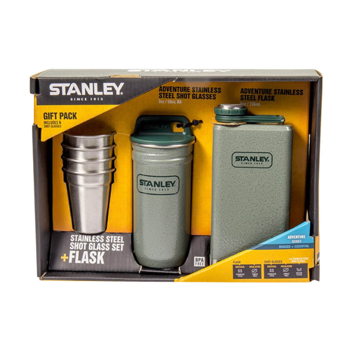 Adventure Stainless Steel Shots + 8oz. Flask Gift Set