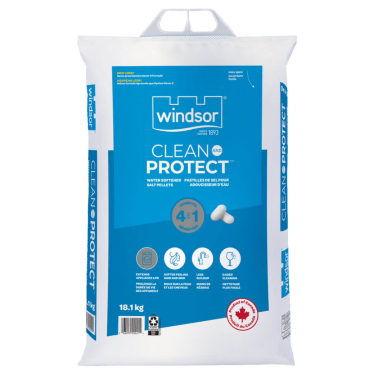 Windsor® Clean And Protect™ + Clean Care™ 4 in 1 Water Softener Salt - 18.1 kg