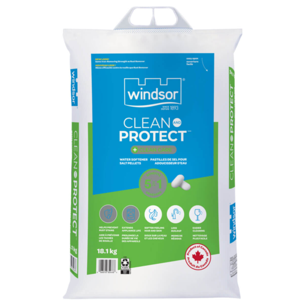 Windsor® Clean And Protect™ + Clean Care™ 5 in 1 Water Softener Salt - 18.1 kg