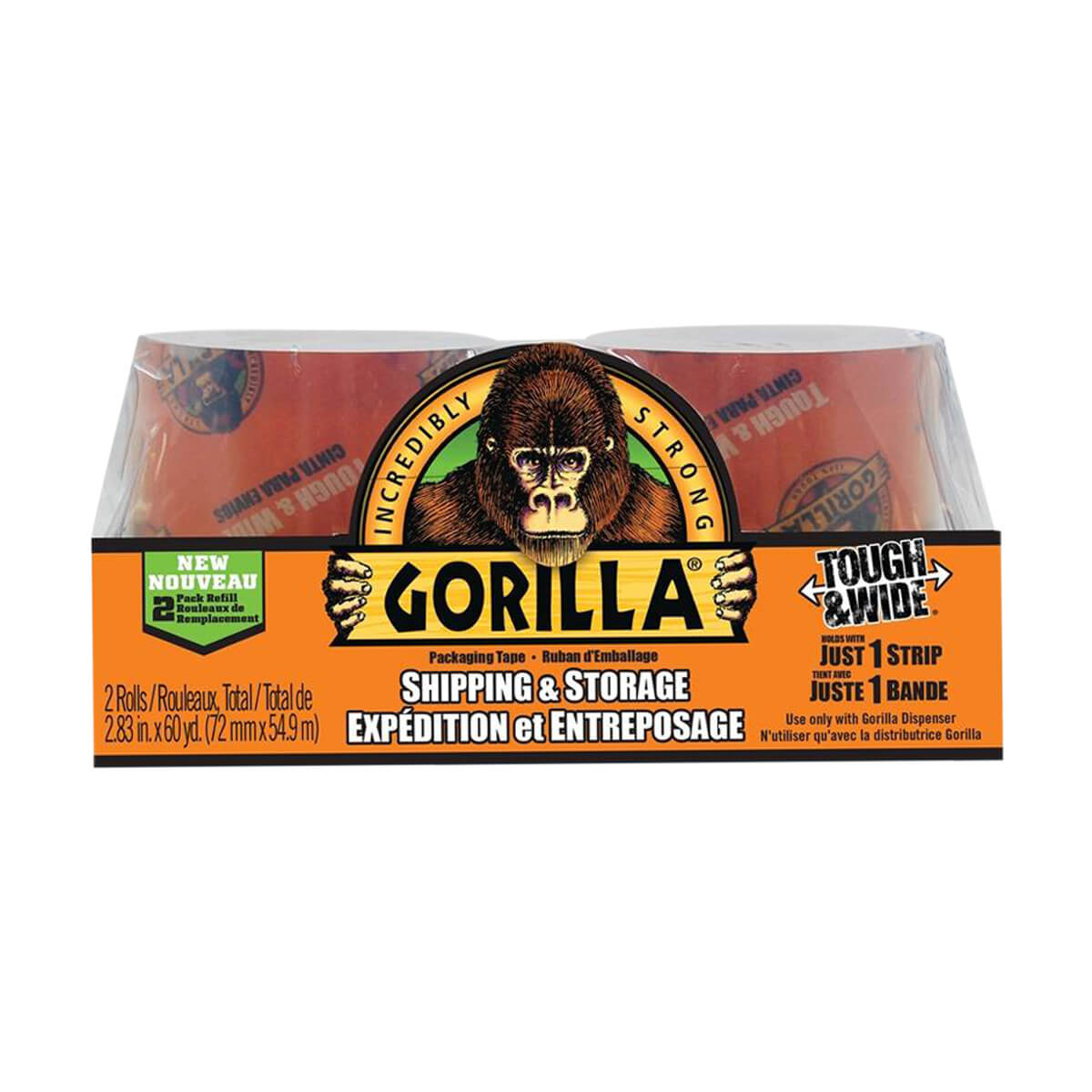 Gorilla Tough and Wide Packaging Tape - 30 yd