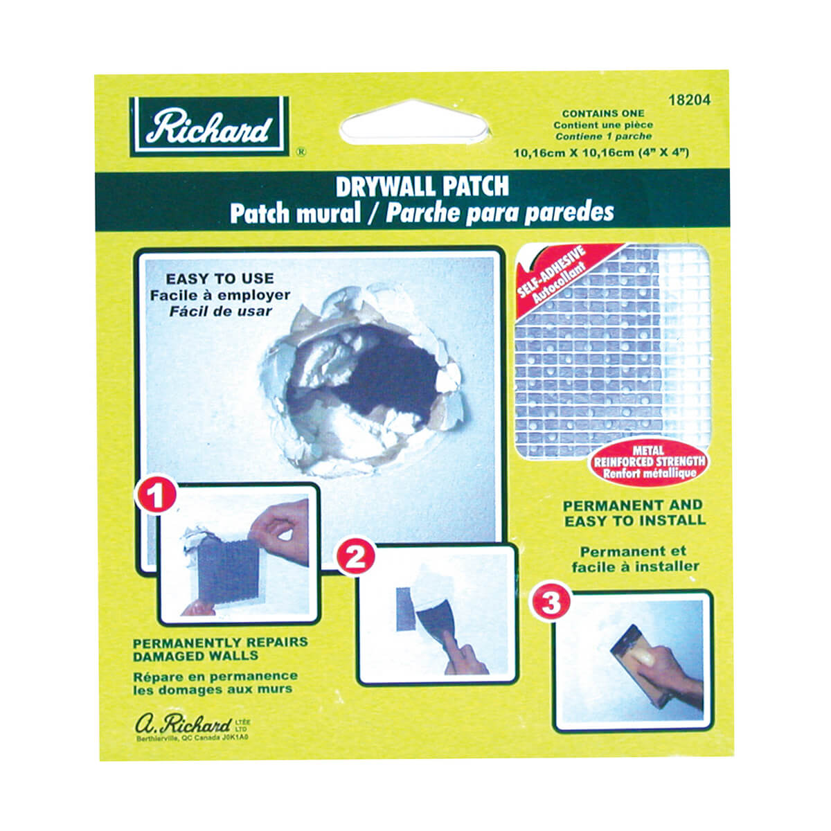 Drywall Patch - Self-Adhesive Metal Reinforced - 4-in x 4-in
