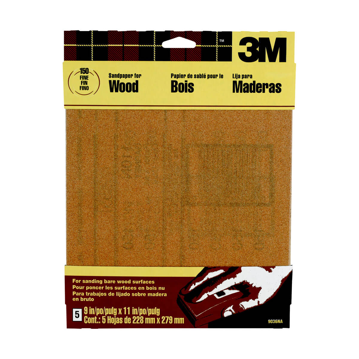 3M Garnet Sandpaper - 5 pack, 150 Grit