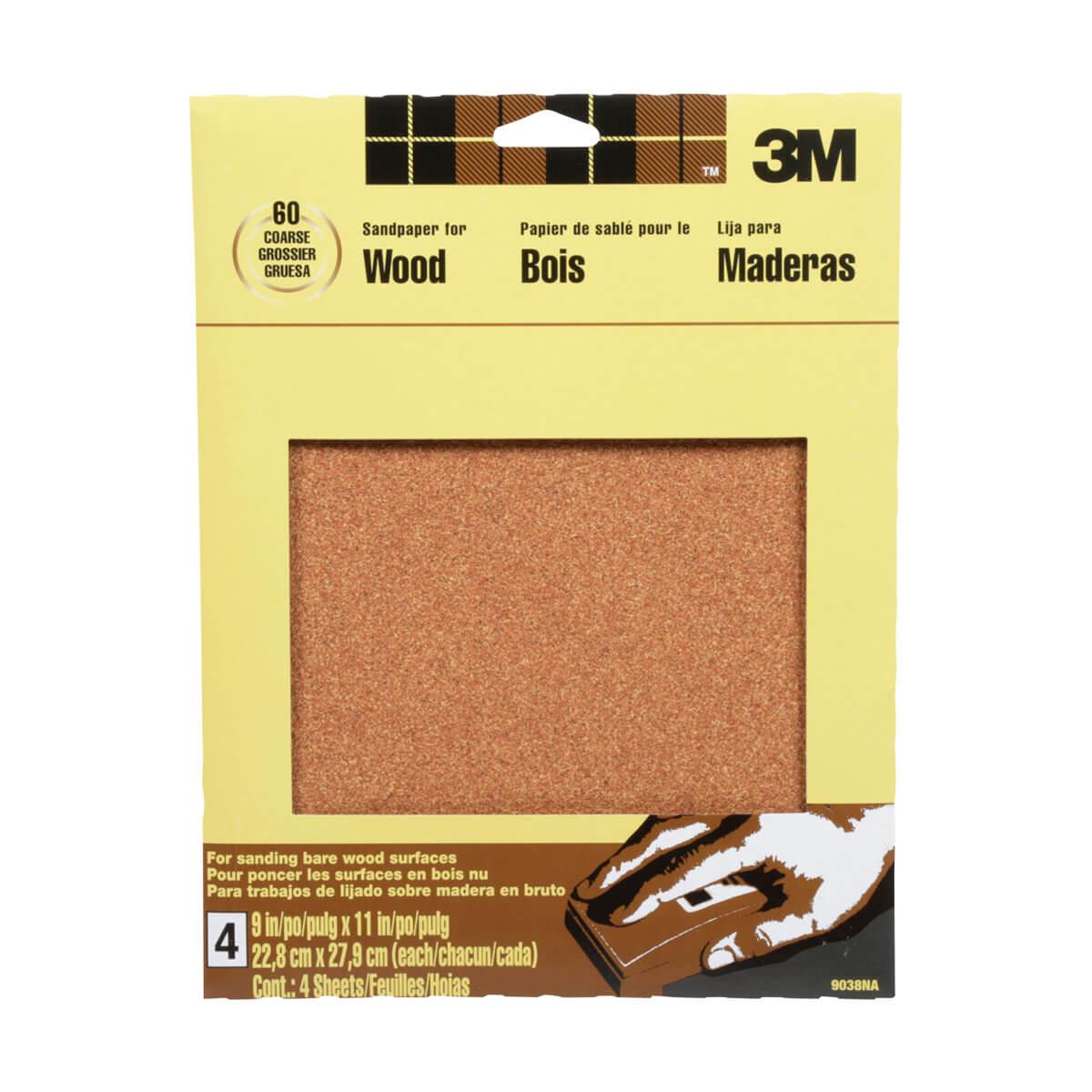 3M Garnet Sandpaper - 4 pack, 60 Grit