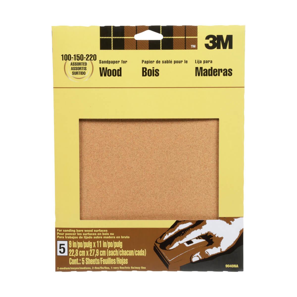 3M Garnet Sandpaper - 5 pack, Assorted Grits