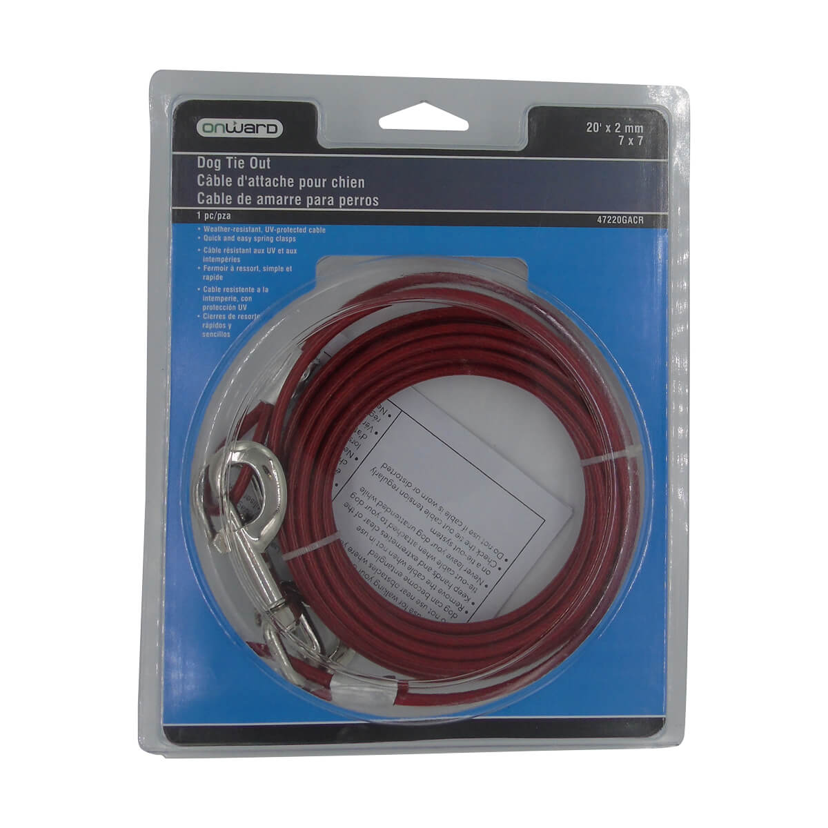 Dog Tie-Out Cable -Coated - 20'<br/>