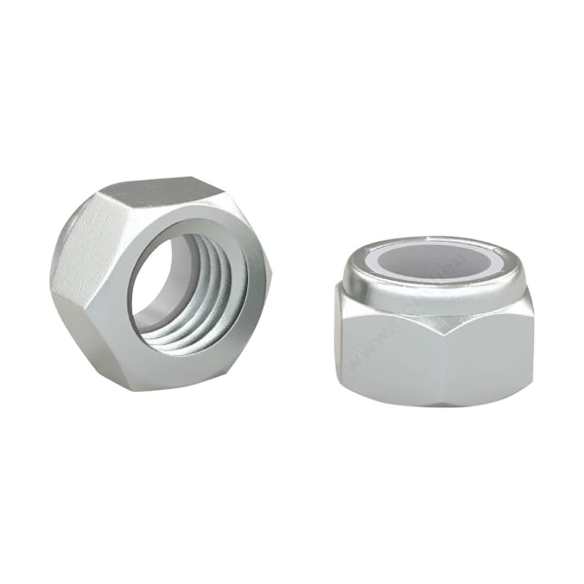 Lock Nut - Steel/Nylon - 1/4-in-20 Pitch - Zinc - 8 Pack