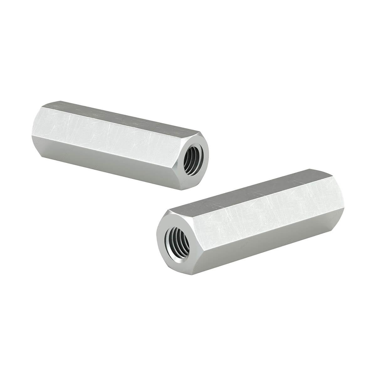 Coupling Nut - 1/2-in-14 X 1-3/4-in - Zinc - 2 / Box