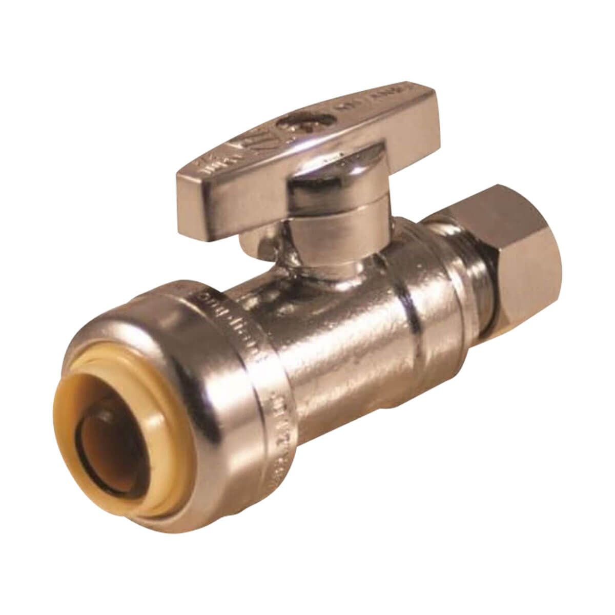 1/2-in Push-Fit X 3/8-in Compression Straight Valve