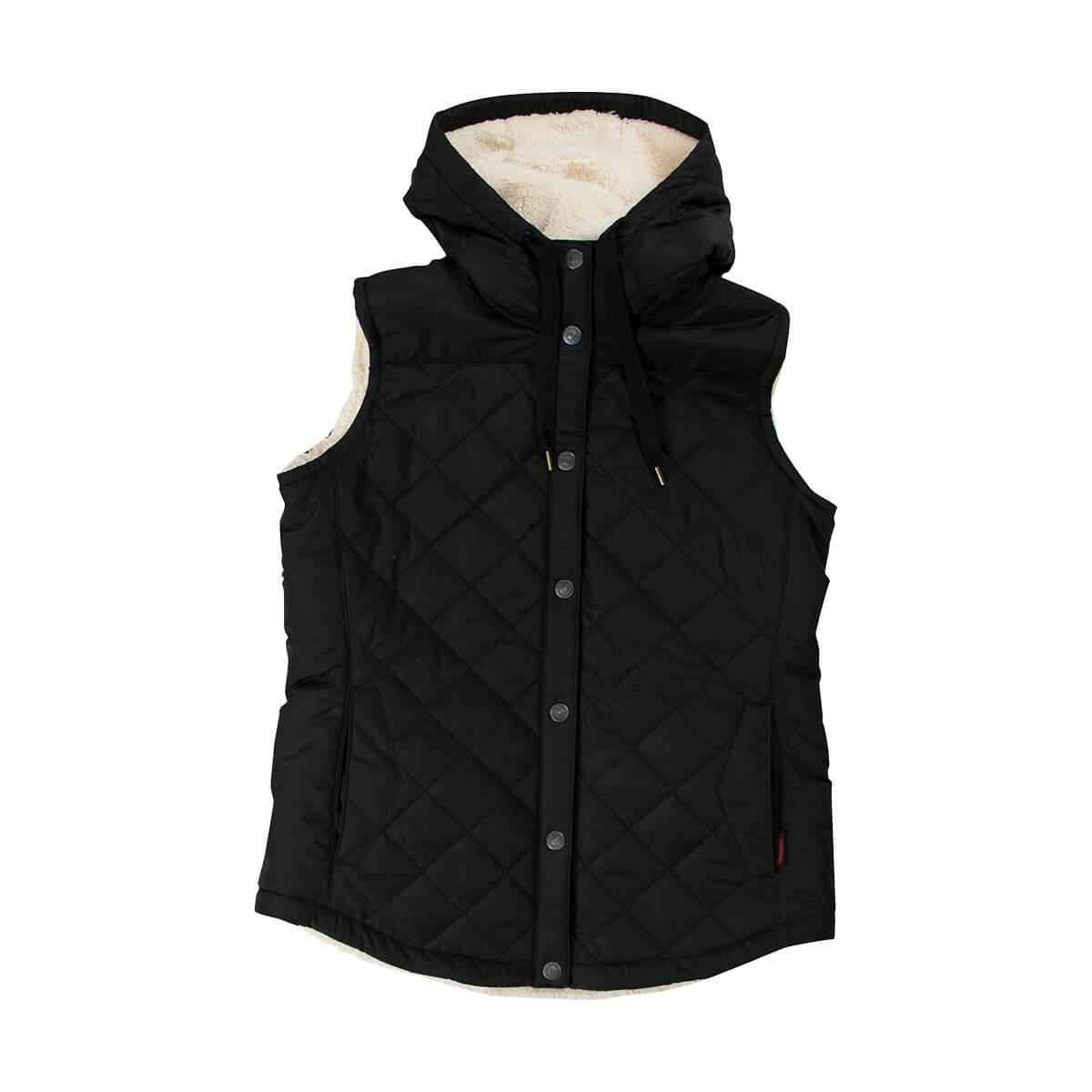 Lady's Sherpa Black Vest