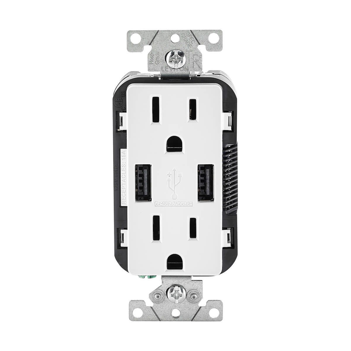 Leviton R02-T5632-0BW 15A White USB & Receptacle Combination Outlet