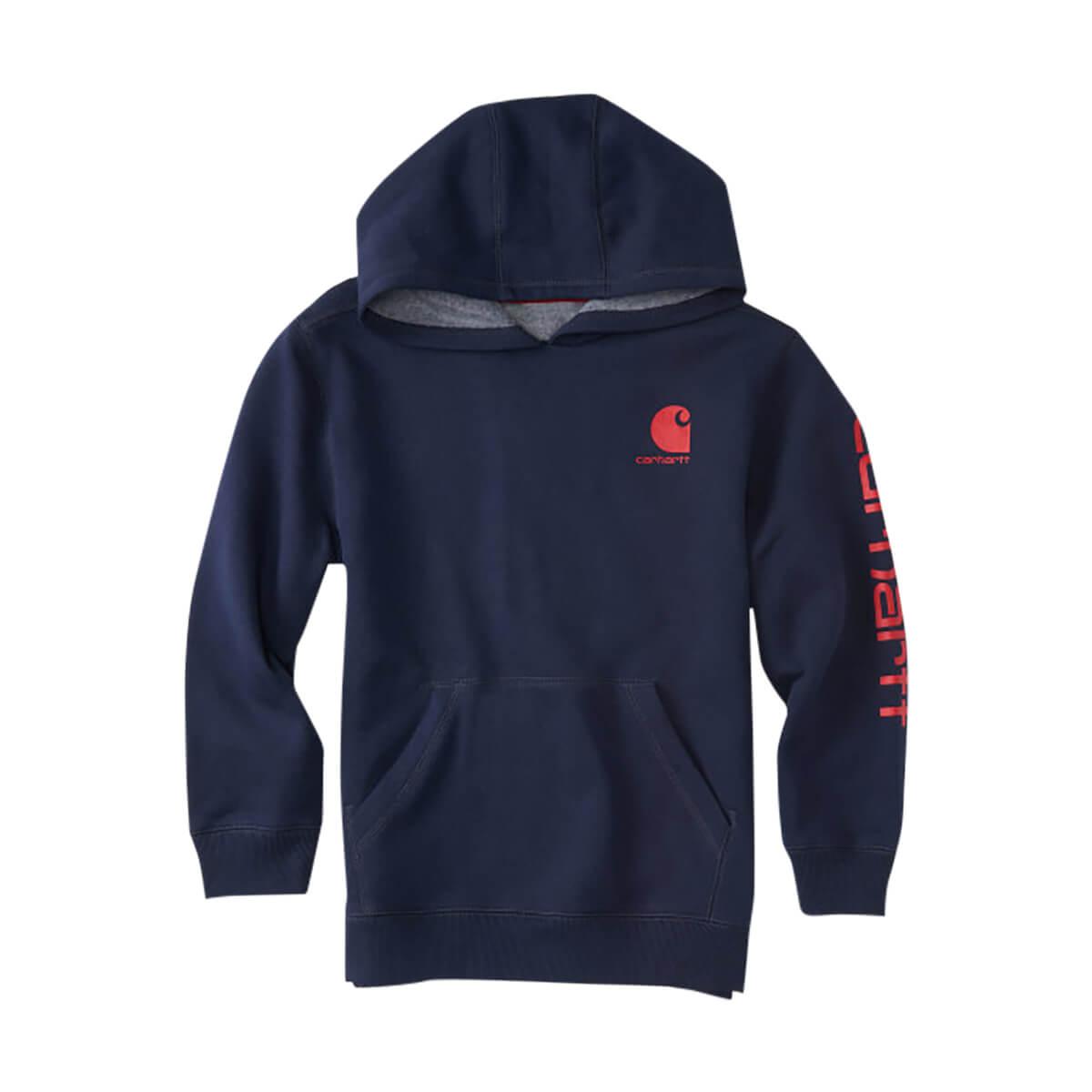 Carhartt Boys' Logo Hooded Sweatshirt - Navy - YL