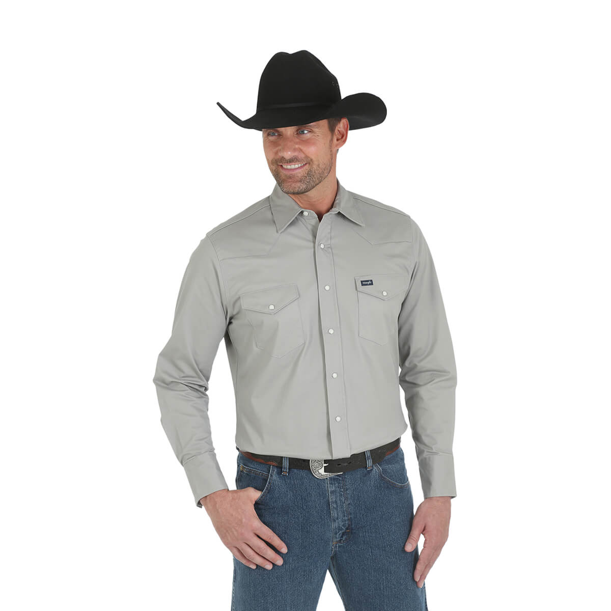 Men's Wrangler® Premium Performance Advanced Comfort Cowboy-Cut Long-Sleeved Shirt - Cement