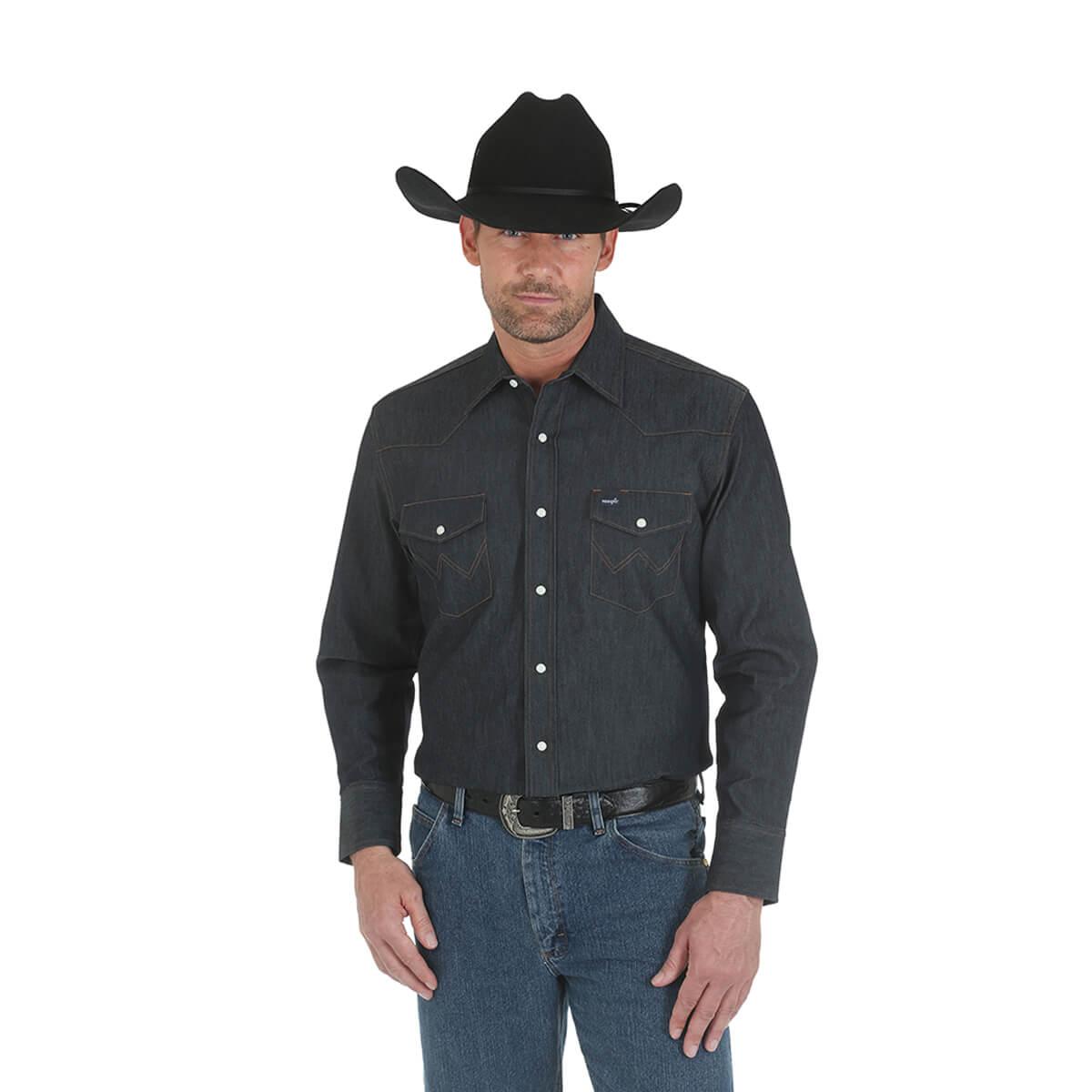 Men's Wrangler® Premium Performance Advanced Comfort Cowboy-Cut Long-Sleeved Shirt - Denim