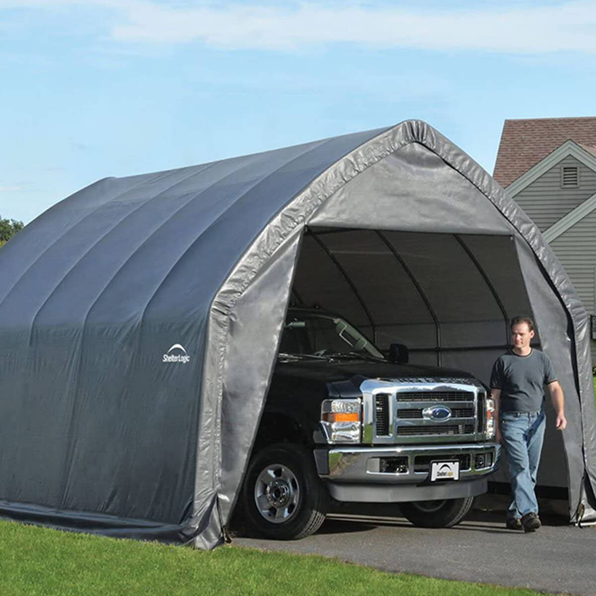ShelterLogic Garage-in-a-Box - Gray - 13' X 20' X 12'