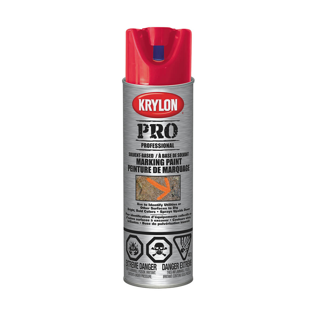 Krylon Contractor marking paint, Solvent based APWA Red - 482 g