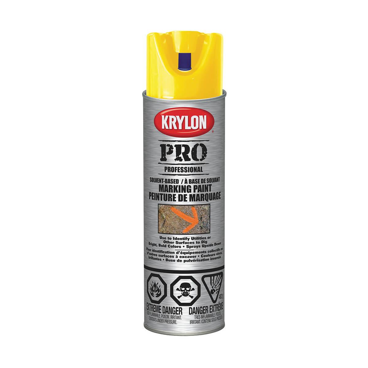 Krylon contractor marking paint, Solvent based, APWA Yellow - 482 g
