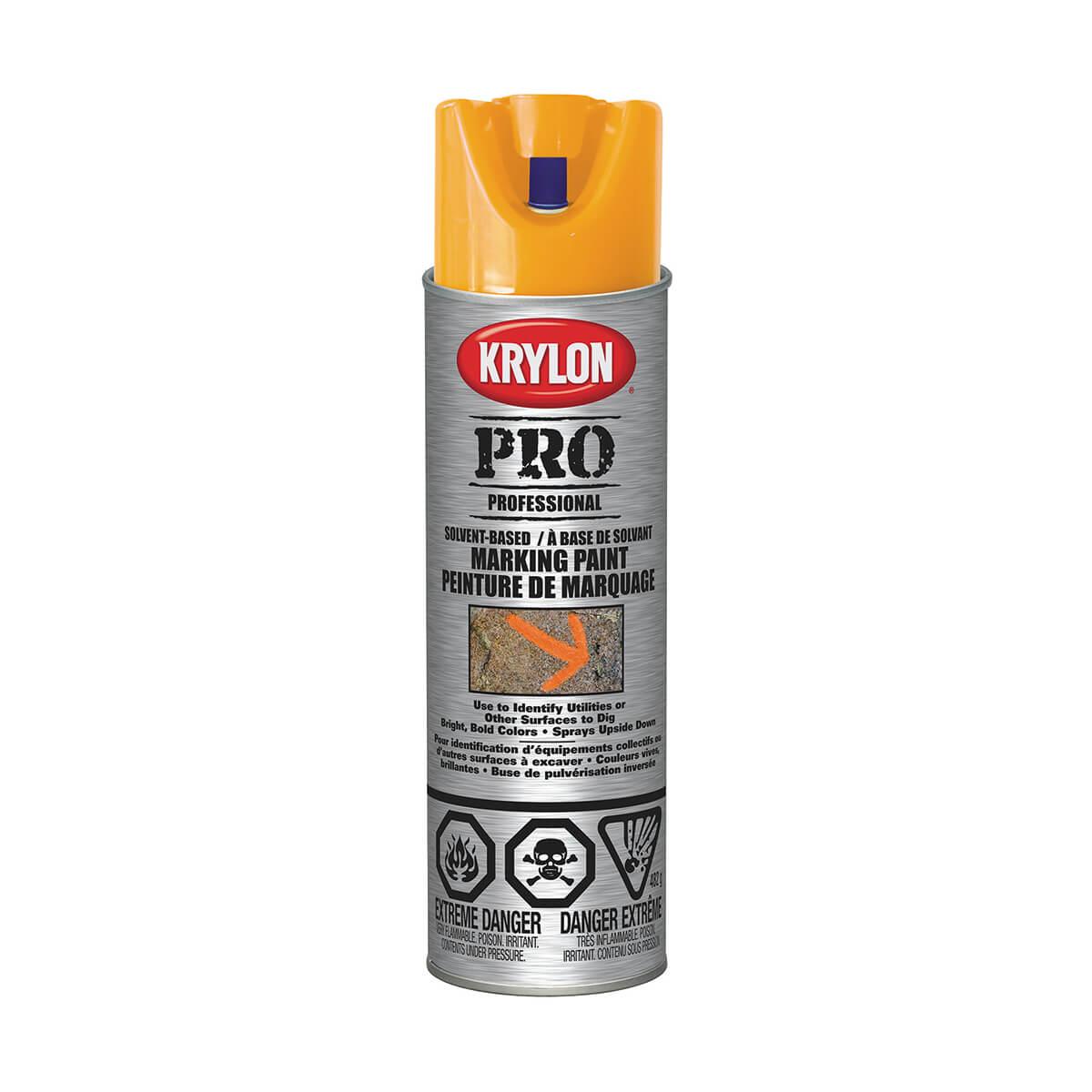 Krylon contractor marking paint, Solvent based, Fluorescent Orange - 482 g
