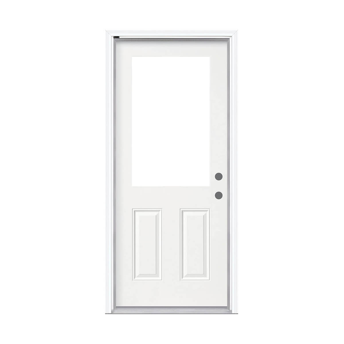Steel Entry Door With 1/2 Lite Cutout - 2x6 FJ Pine Jamb -  Left Hand Inswing - Double Drill
