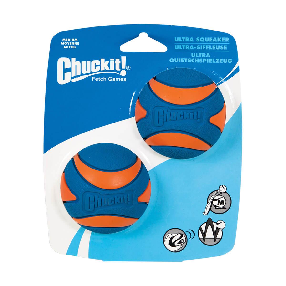 Chuckit! Ultra Squeaker Ball Dog Toy - Medium - 2 Pack