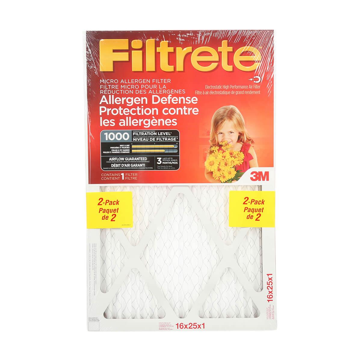 """Filtrete Allergen Defense Micro Allergen Filter, MPR 1000, 2 Pack - 16"""" x 25"""" x 1"""""""