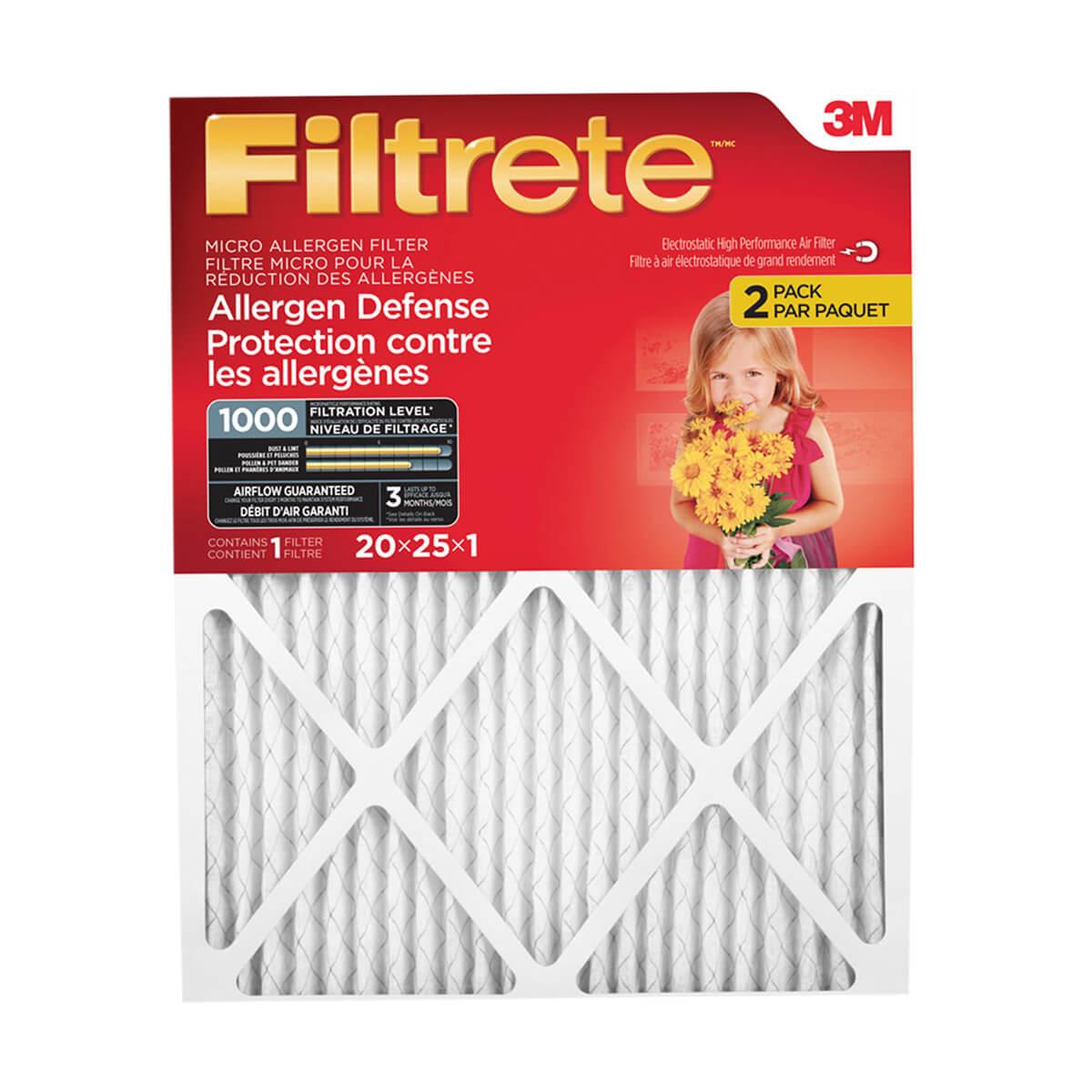 """Filtrete Allergen Defense Micro Allergen Filter, MPR 1000, 2 Pack - 20"""" x 25"""" x 1"""""""