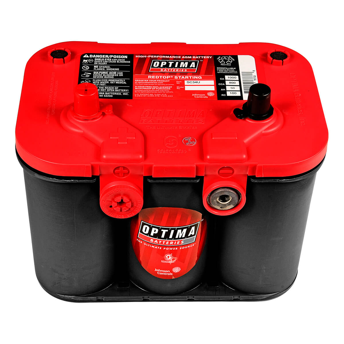 Optima AGM Red Top Dual Terminal 12 Volt Battery, Non Spillable - SC34U