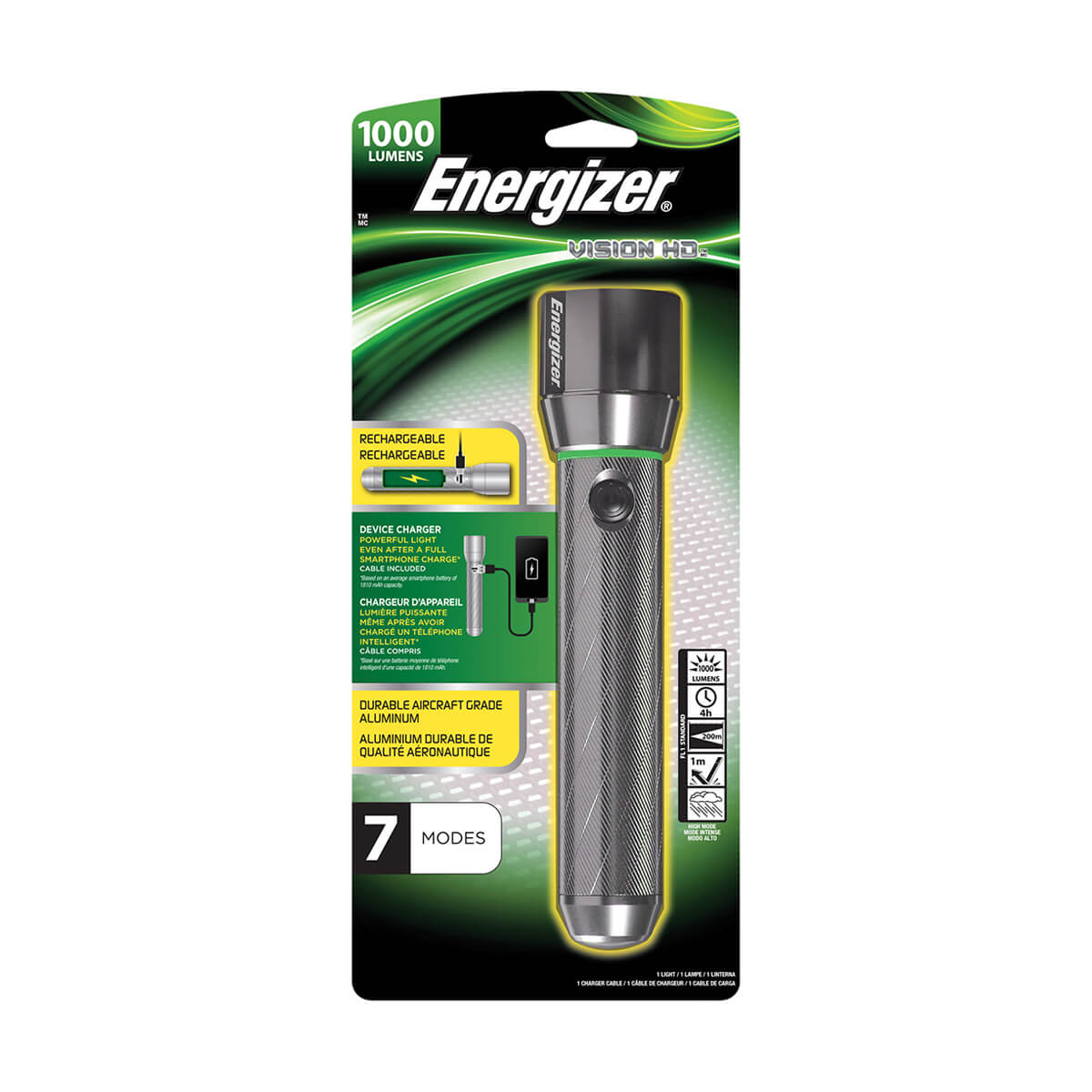 Energizer Vision HD Rechargeable Flashlight - 1000 lumens