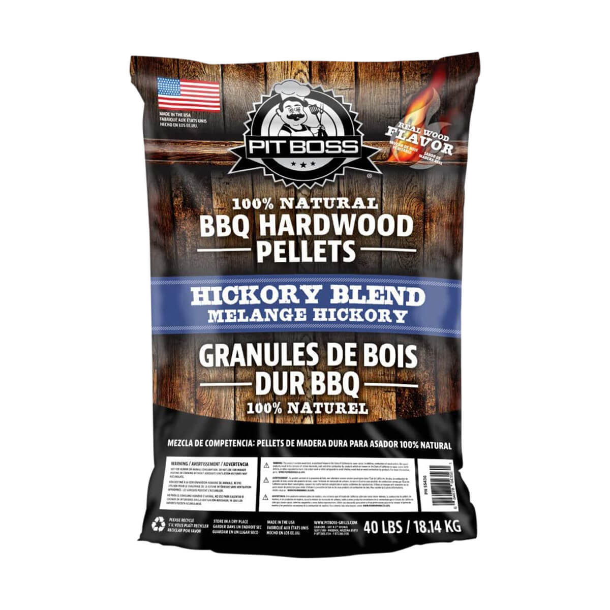 Pit Boss Barbecue Wood Pellets Hickory Blend - 40lb