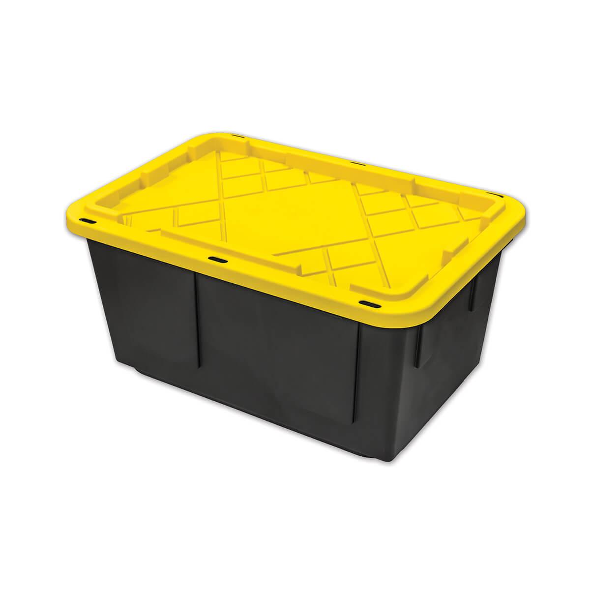 Tough Box Storage Tote, Black/Yellow - 27 Gallon