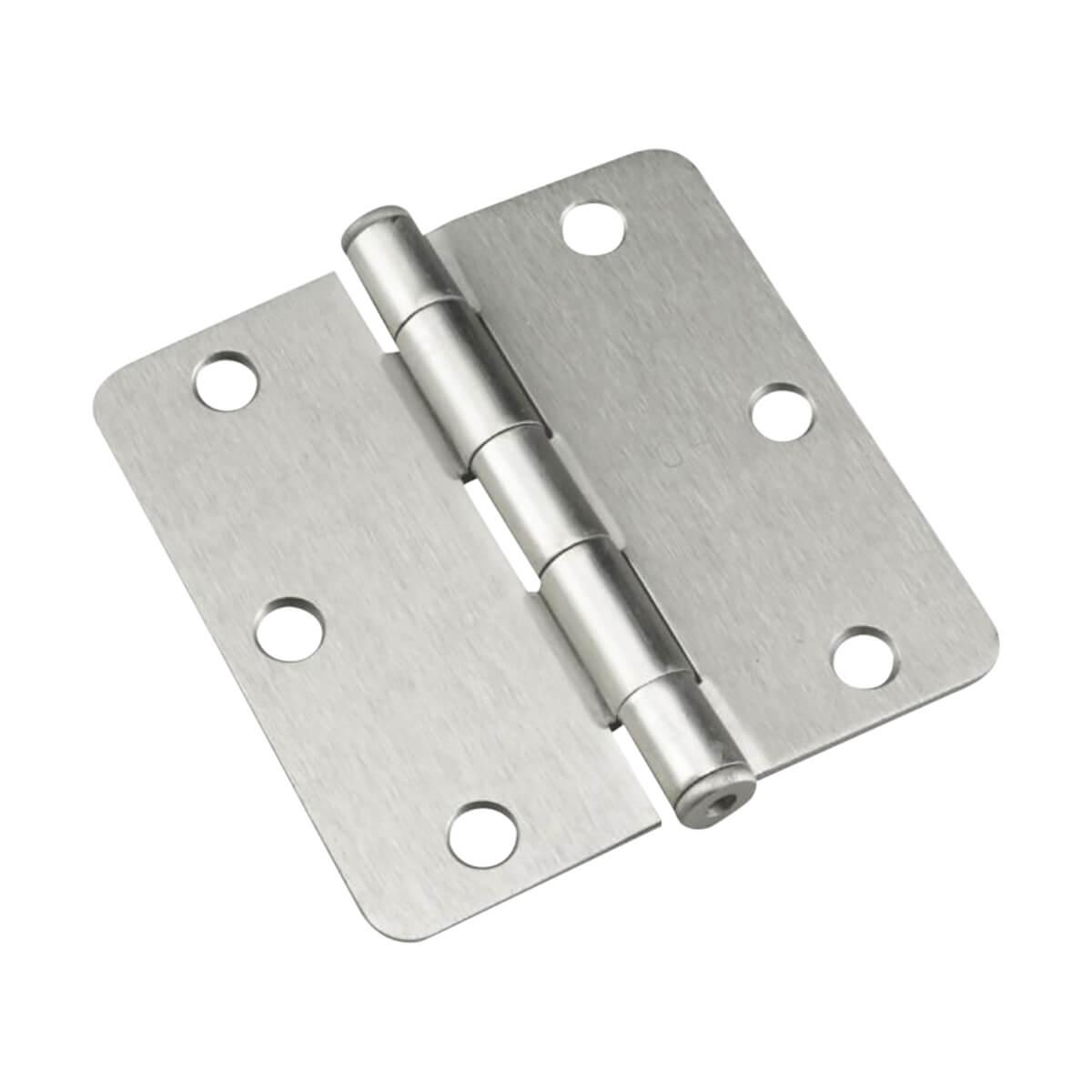 Full Mortise Butt Hinge - Brushed Nickel - 1/4-in Radius - 3-1/2-in