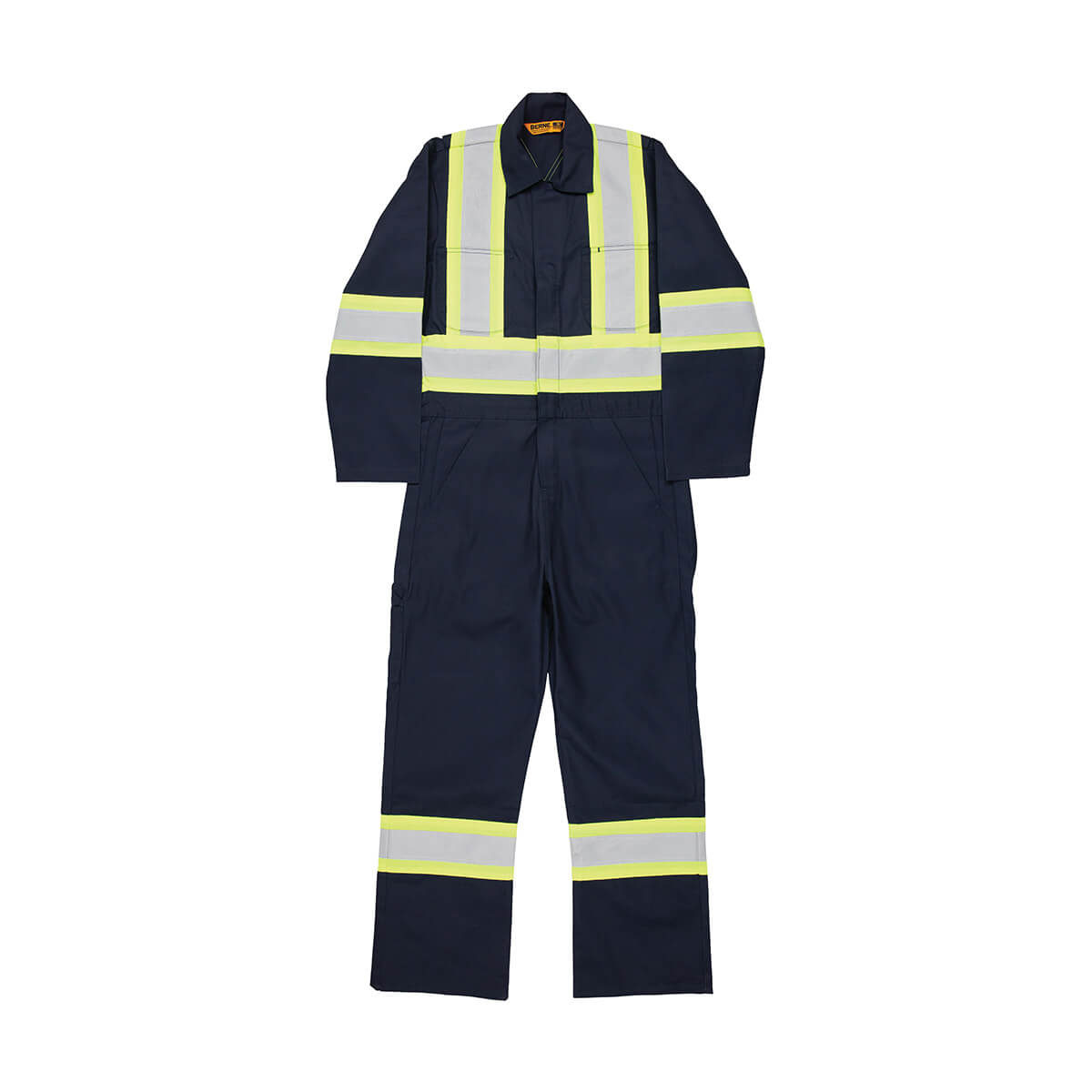 Men's High Visibility Safety Striped Gasket Unlined Coverall - Navy
