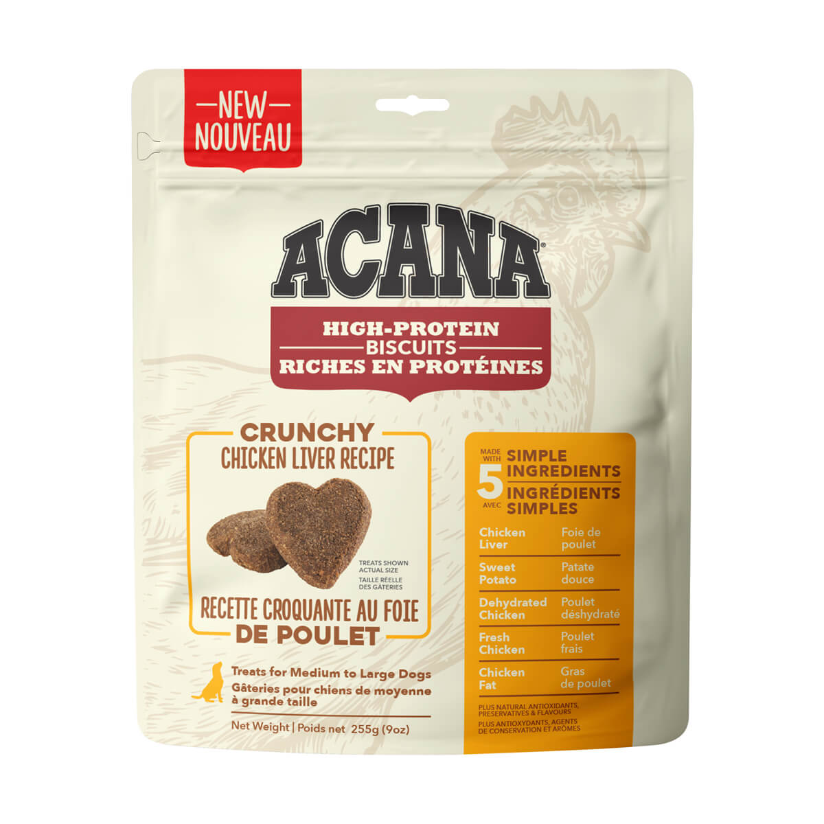 Acana High Protein Large Crunchy Chicken Liver Biscuits