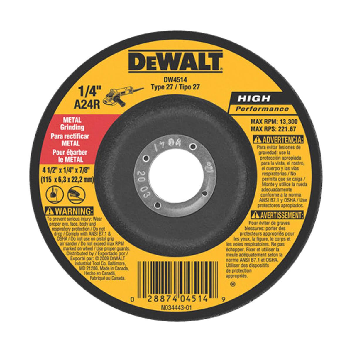 """DEWALT General Purpose Metal Grinding Wheel - 4-1/2"""" x 1/4"""" x 7/8"""""""